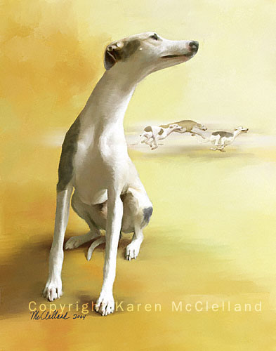 "Whippet dog print titled ""Off Course"""